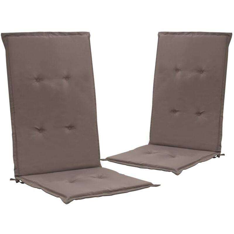 Décoshop26 - lot de 2 coussins de chaise de jardin 100% polyester imperméable taupe 120 x 50 x 3 cm - taupe