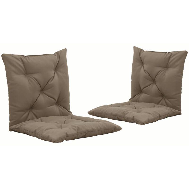 lot de 2 coussins de chaise de jardin 100% polyester imperméable taupe 50 cm - taupe