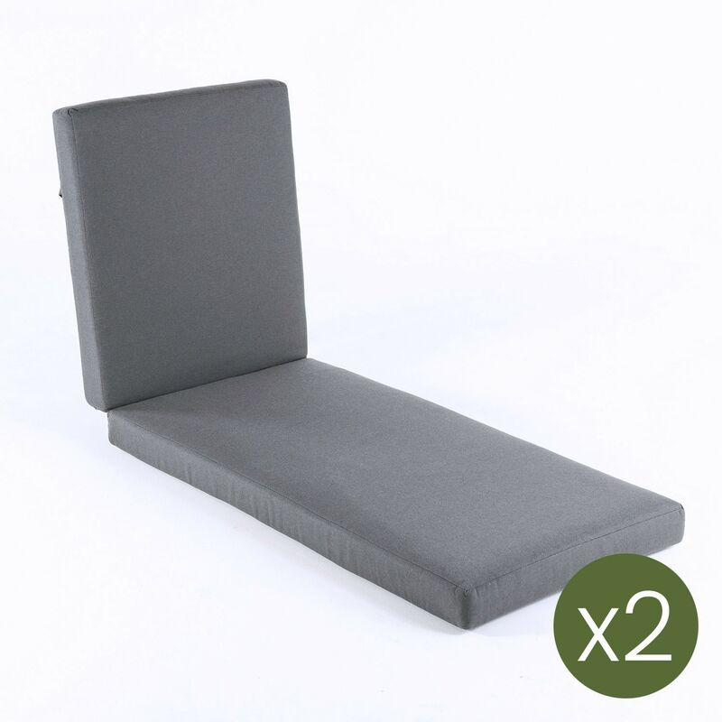 Lot de 2 coussin pour chaise longue d'extérieur standard Olefin Gris Dimensions 190 x 60 x 10 cm Ne perd pas de couleur Déhoussable - Olefin gris
