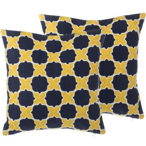 Lot de 2 coussins en coton jaune et bleu avec motifs marocains brodés MUSCARI