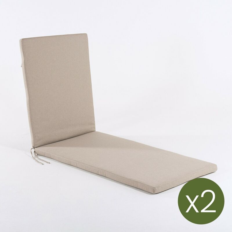 Lot de 2 coussins pour chaise longue Oléfine couleur marron grillé | Dimensions: 60x196x5 cm | Il ne perd pas de couleur | Résistant aux gouttes