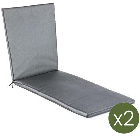 Lot de 2 coussins luxe pour chaise longue de piscine couleur sable   Dimensions: 60x196x5 cm   Imperméable   Déhoussable - Luxe Sable