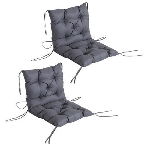 Lot de 2 coussins matelas assise dossier 2 en 1 pour chaise fauteuil grand confort 98L x 50l x 8H cm gris
