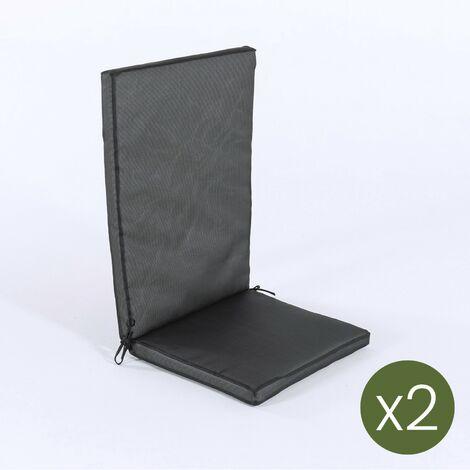 Lot de 2 coussins pour fauteuil inclinable d'extérieur standard couleur orange   Dimensions: 48x114x5 cm   Imperméable   Déhoussable - Orange