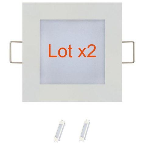 Lot de 2 dalles LED extra plates carré blanc 3W (Eq. 24W) 4200K Dim 90x90mm