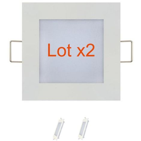 Lot de 2 dalles LED extra plates carré blanc 3W (Eq. 24W) 6400K Dim 90x90mm
