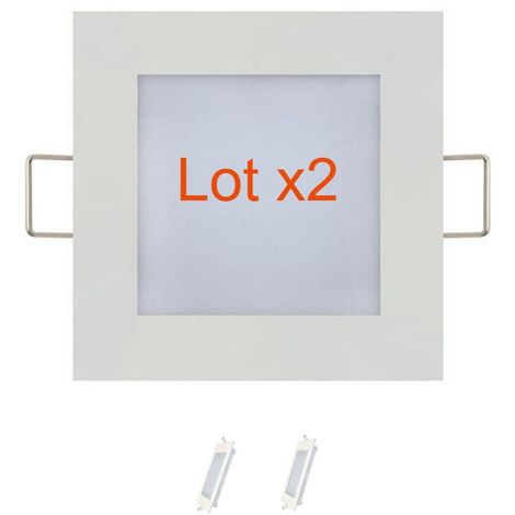 Lot de 2 dalles LED extra plates carré blanc 6W (Eq. 48W) 2700K Dim 120x120mm