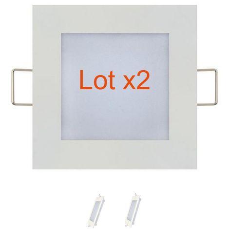 Lot de 2 dalles LED extra plates carré blanc 6W (Eq. 48W) 6400K Dim 120x120mm