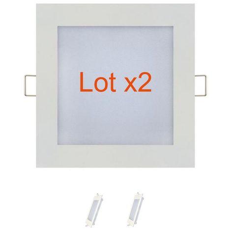 Lot de 2 dalles LED extra plates carré blanc 9W (Eq. 72W) 2700K Dim 150x150mm