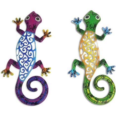 Lot de 2, décorations murales en métal Gecko Art lézard décorations murales pour cour, clôture, jardin, maison, sculptures murales extérieures, 12,2 x 5,9 pouces