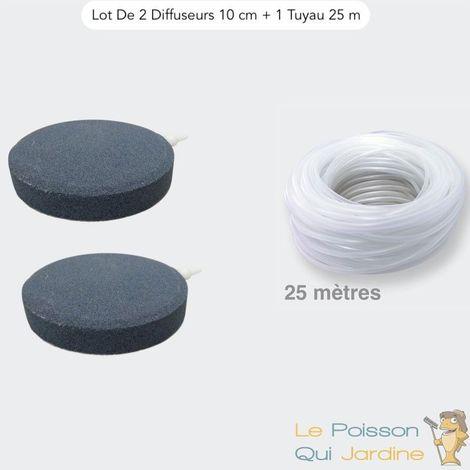 Lot De 2 Diffuseurs D'Air Disques, 10 cm + 1 Tuyau 25 m, Bassins