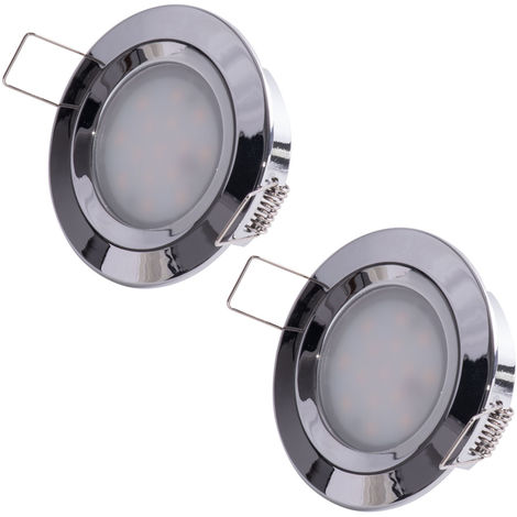 Lot de 2 downlights à LED, chromé, dimmable, coin slim