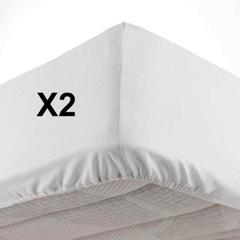 Lot de 2 Draps housse bonnet 30 cm 2 personnes 140 x 190 cm microfibre Oscar Blanc