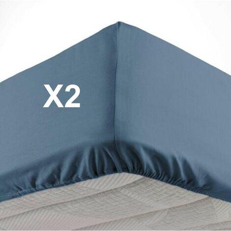Lot de 2 Draps housse bonnet 30 cm 2 personnes 140 x 190 cm microfibre Oscar Bleu