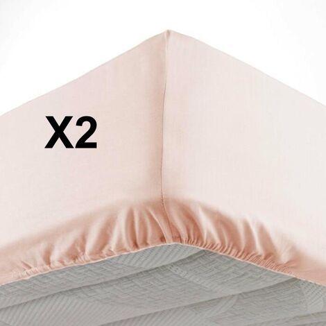Lot de 2 Draps housse bonnet 30 cm 2 personnes 140 x 190 cm microfibre Oscar Nude
