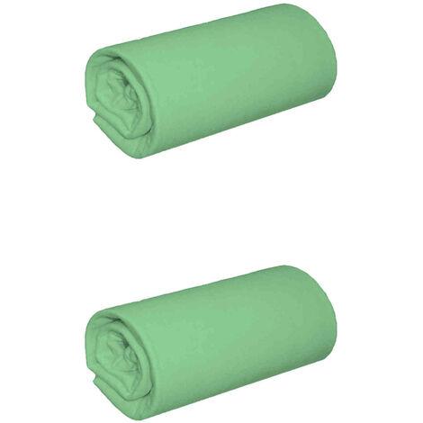 Lot de 2 draps housses jersey vert jade bonnet 30 cm 200x200 - Vert
