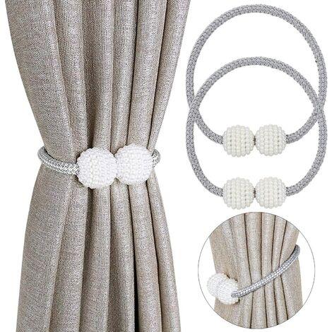 Lot de 2 embrasses magnétiques pour rideaux de petite taille, fins ou transparents Embrasse de rideau : gris.