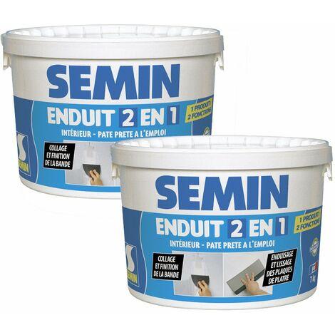 Lot de 2 enduits 2 en 1 multifonctions Semin - joint et lissage de la plaque de plâtre - intérieur - seau de 7 kg