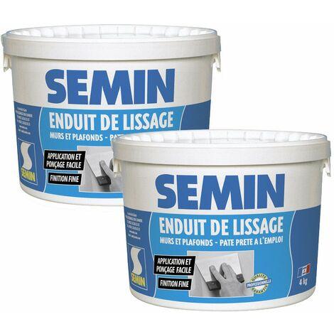 Lot de 2 enduits de lissage en pâte pour murs et plafonds Semin - intérieur - Seau de 4 kg