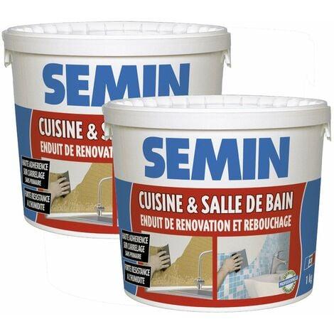 Lot de 2 enduits de rebouchage et rénovation spécial cuisine et salle de bain Semin - adapté aux pièces humides - seau de 1 kg
