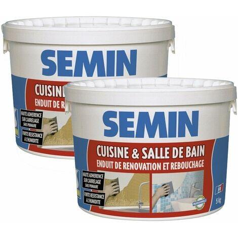 Lot de 2 enduits de rebouchage et rénovation spécial cuisine et salle de bain Semin - adapté aux pièces humides - seau de 5 kg