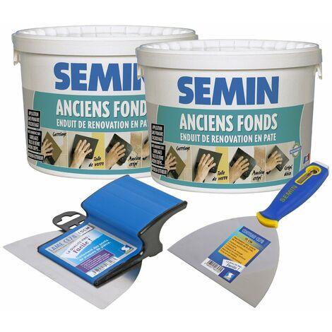 Lot de 2 enduits de rénovation pour les supports irréguliers Anciens Fonds Semin - intérieur/extérieur - seau de 5 kg, un couteau à enduire - 15 cm et une lame CE 78 pour enduire et lisser - 15 cm