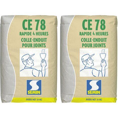 Lot de 2 enduits pour réaliser les joints de plaques de plâtre CE 78 Rapide Semin - temps de prise 4 heures - intérieur - sac de 25 kg