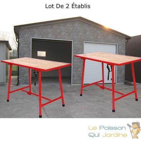 Lot De 2 Établis, Table De Travail, Charge Max : 200 Kg, Rouge