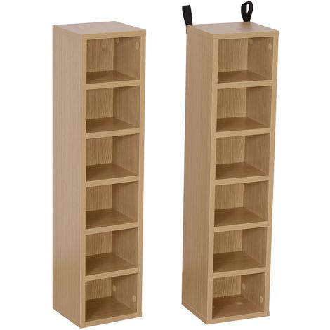 Lot de 2 étagères colonnes armoire de rangement CD-DVD 6 + 6 compartiments dim. 21L x 19l x 88H cm capacité max. 204 CD coloris hêtre