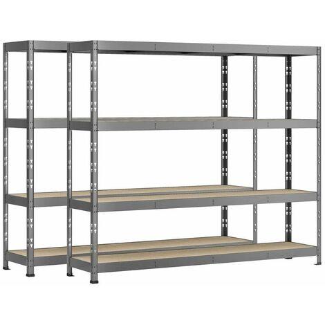 Lot de 2 étagères Rack charge lourde MODULÖ - 4 plateaux - 220 x 40 cm