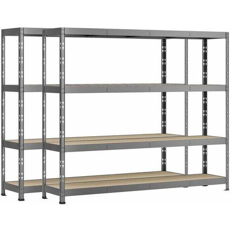Lot de 2 étagères Rack charge lourde MODULÖ - 4 plateaux - 220 x 50 cm