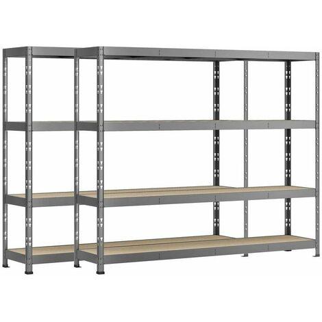 Lot de 2 étagères Rack charge lourde MODULÖ - 4 plateaux - 220 x 60 cm