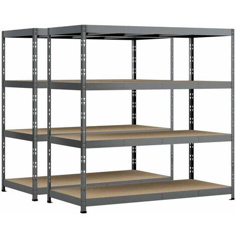 Lot de 2 étagères Rack charge lourde MODULÖ - 4 plateaux - 220 x 80 cm