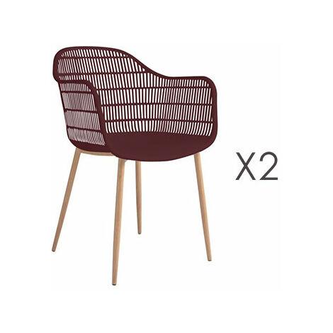 Lot de 2 fauteuils 61x53x81 cm bordeaux - PESCA