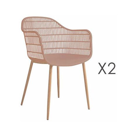 Lot de 2 fauteuils 61x53x81 cm rose - PESCA