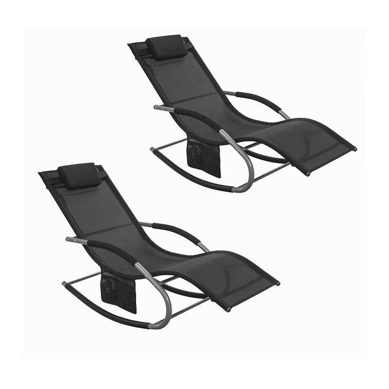 Lot de 2 Fauteuils à bascule Transats de jardin avec repose-pieds et 1 pochette latérale, Bains de soleil Rocking Chair - Noir SoBuy® OGS28-Schx2