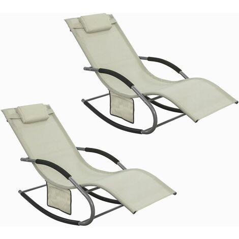 Lot de 2 Fauteuils à bascule Transats de jardin avec repose-pieds, Bains de soleil Rocking Chair - Crème SoBuy® OGS28-MIx2