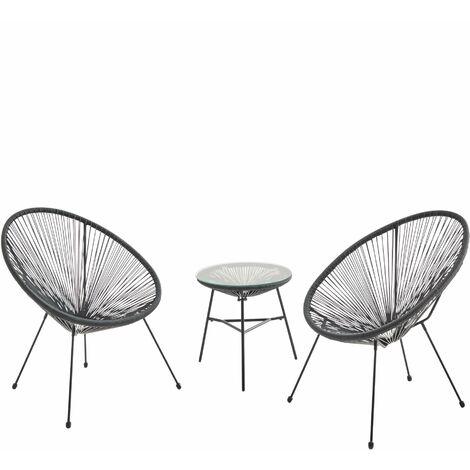 Lot de 2 fauteuils ACAPULCO forme d'oeuf avec table d