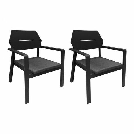 Lot de 2 fauteuils bas de jardin en aluminium et tissu gris - CANCUN - Gris anthracite