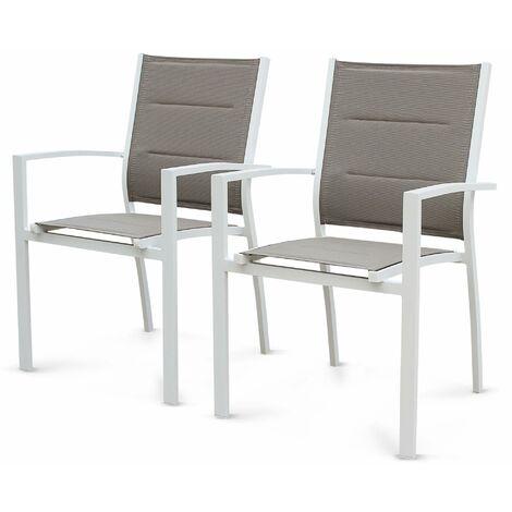 De Fauteuils Chicago 2 En Lot Taupe Et Aluminium Blanc Textilène eWHbDIE29Y