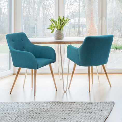 "main image of ""Lot de 2 fauteuils DANIA bleu canard"""