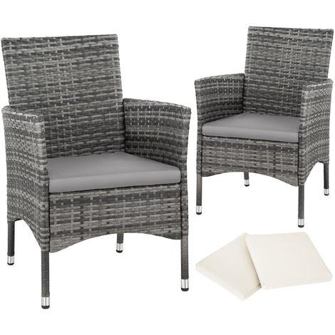 Lot de 2 fauteuils de jardin acier avec 2 sets de housses