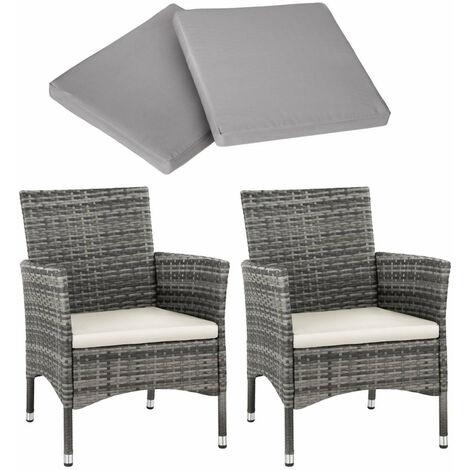 Lot de 2 fauteuils de jardin acier avec 2 sets de housses gris - Gris