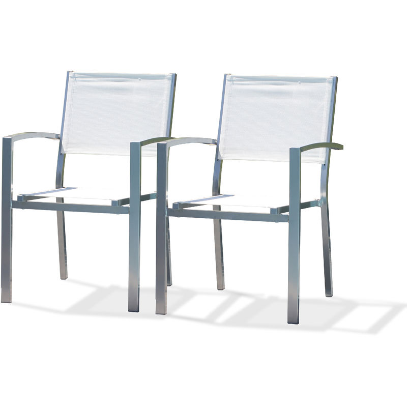 Lot de 2 fauteuils de jardin effet aluminium bross_ et textil