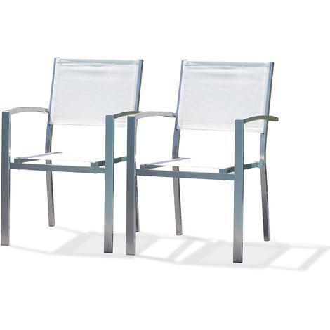Lot de 2 fauteuils de jardin effet aluminium bross_ et