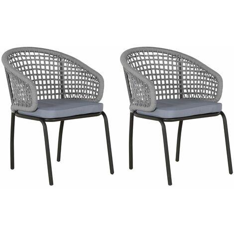 Lot de 2 fauteuils de jardin en acier noir avec dossiers gris tressés