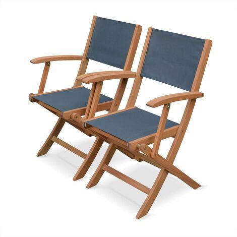 Lot de 2 fauteuils de jardin en bois Almeria, 2 fauteuils pliants ...