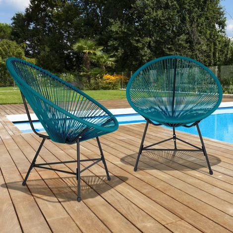 Lot de 2 fauteuils de jardin IZMIR bleu canard design oeuf cordage plastique