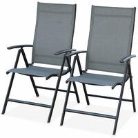 Lot de 2 fauteuils multi-positions Naevia en aluminium anthracite et textilène gris