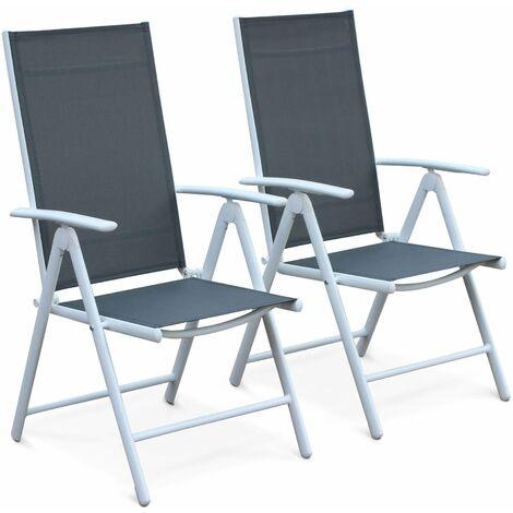 Lot de 2 fauteuils multi-positions Naevia en aluminium blanc et textilène gris